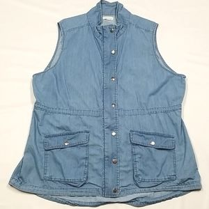 Jean Vest With Zipper And Snap Closer, Warehouse 1